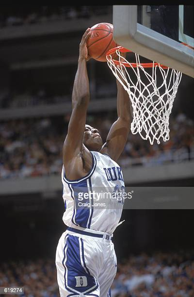 Reggie Love of the Duke Blue Devils makes a slam dunk during the ACC Tournament against the Maryland Terrapins at the Georgia Dome in Atlanta Georgia...