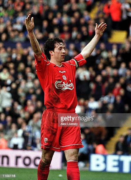 Robbie Fowler of Liverpool celebrates after scoring Liverpool's fourth goal with a penalty during the Tranmere Rovers v Liverpool AXA FA Cup Sixth...
