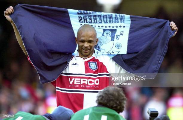 Roy Essandoh of Wycombe celebrates after beating Leicester City in the quarter final of the AXA FA Cup after the Leicester City v Wycombe Wanderers...