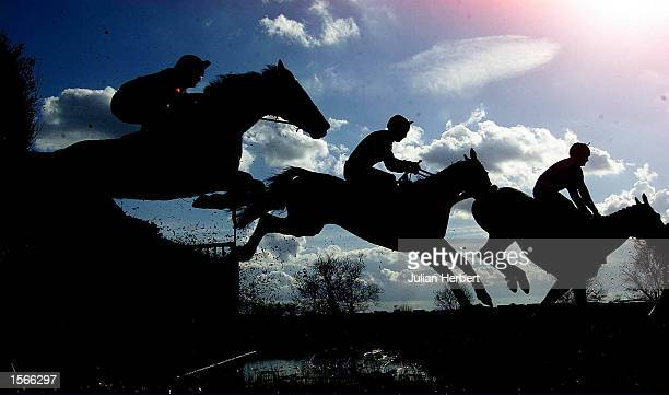Runners in the Hanson Handicap Steeple Chase clear the water jump at Huntingdon Racecourse the 3 mile race was won by Mr Stuart Morris ridding Celtic...