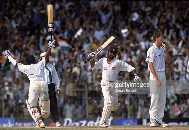 Sameer Dighe and Harbhajan Singh of India celebrate as they complete the winning runs whilst Glenn McGrath of Australia can''t hide his disappoinment...