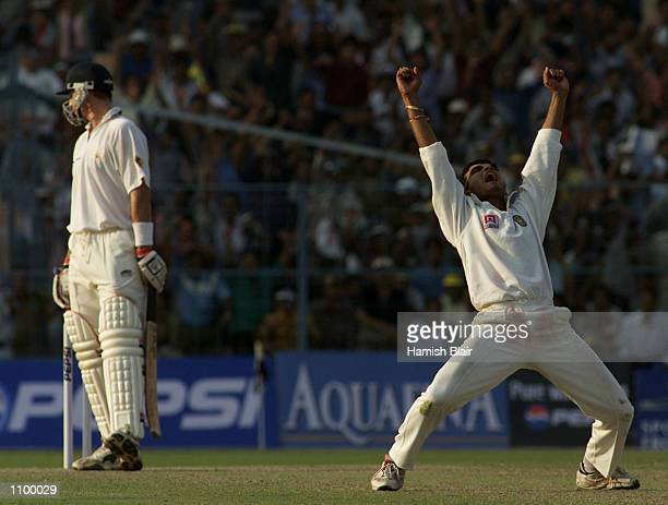Saurav Ganguly of India claims the wicket of Michael Kasprowicz of Australia LBW for seven during day one of the 2nd Test between India and Australia...