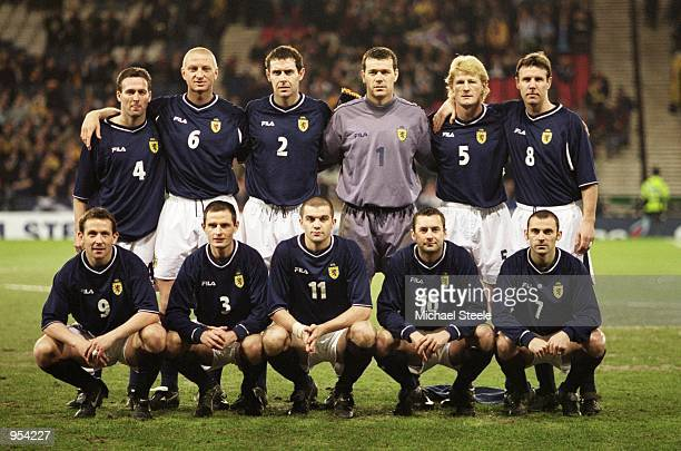 Scotland team lineup before the World Cup 2002 Group Six Qualifying match against San Marino played at Hampden Park in Glasgow Scotland Scotland won...