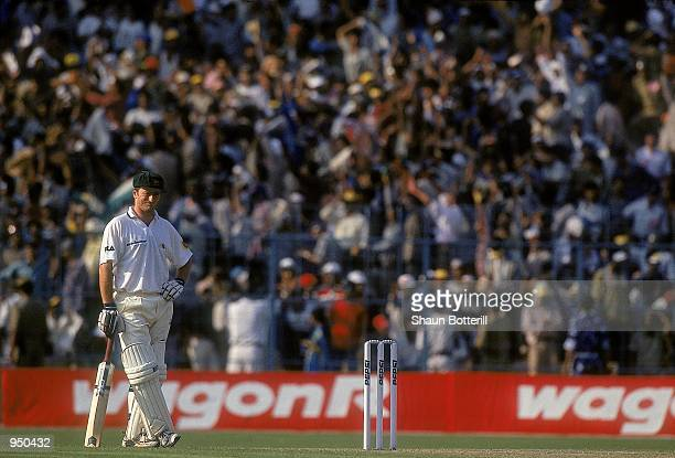 Steve Waugh of Australia takes a break during the Second Test match against India played at the Eden Gardens in Calcutta India India won the game by...
