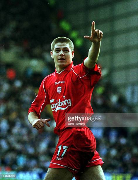 Steven Gerrard of Liverpool celebrates after scoring Liverpool's third goal during the Tranmere Rovers v Liverpool AXA FA Cup Sixth round match at...