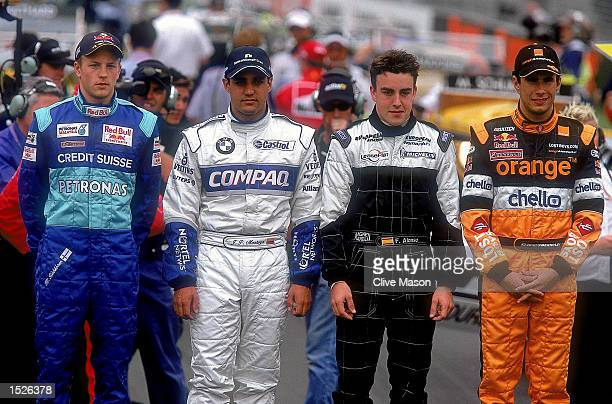 The 2001 season's new drivers Kimi Raikkonen of Sauber Juan Pablo Montoya of Williams BMW Fernando Alonso of Minardi and Enrique Bernoldi of Arrows...