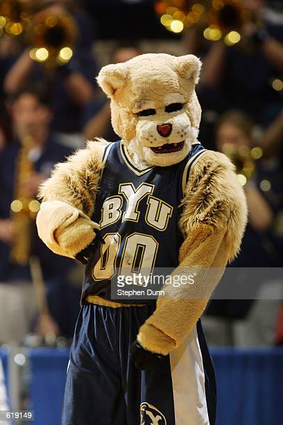 The Brigham Young University mascot entertains the fans during the first round of the Men's NCAA Tournament against Cincinnati at Cox Arena in San...