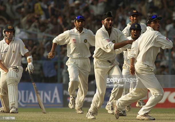The Indians celebrate the win during day five of the 2nd Test between India and Australia played at Eden Gardens Calcutta India India won by 171 runs...