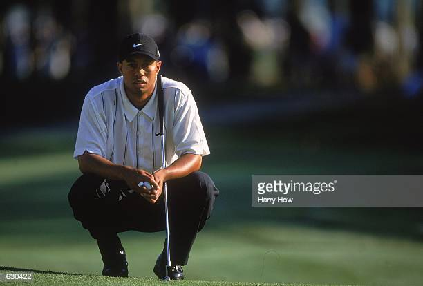Tiger Woods lines up his putt during the Players Championship at The Players Club at Sawgrass in Ponte Vedra Beach FloridaMandatory Credit Harry How...
