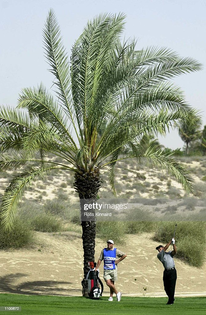 Tiger Woods of the United States plays his second shot to the 8th green during day three of the Dubai Desert Classic in Dubai . Digital Image. Mandatory Credit: Ross Kinnaird/ALLSPORT