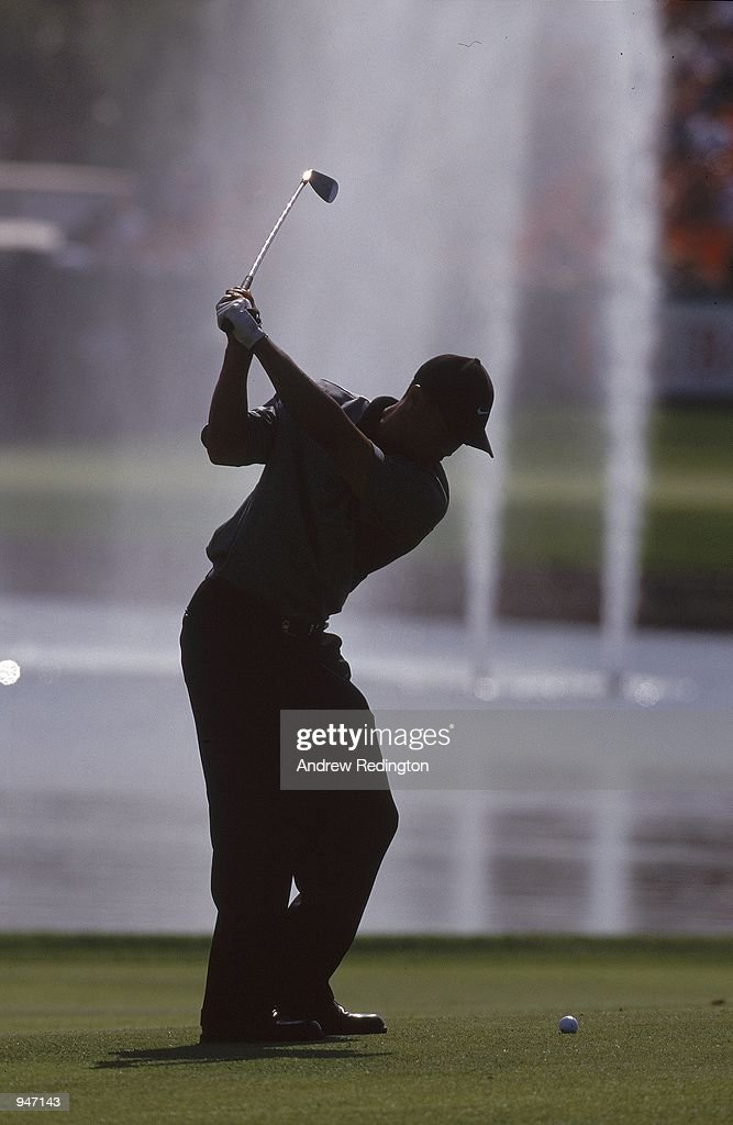 Tiger Woods of the USA in action during the Dubai Desert Classic at the Emirates GC in Dubai. \ Mandatory Credit: Andrew Redington /Allsport