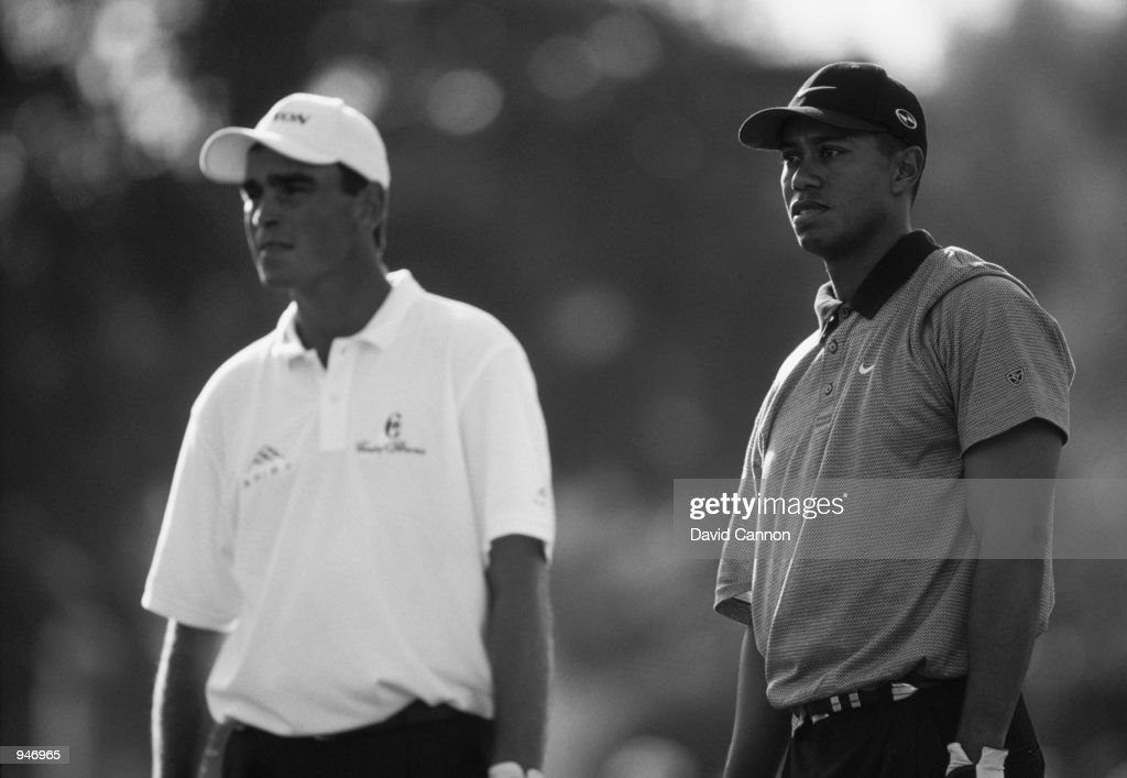 Tiger Woods of the USA with Thomas Bjorn of Denmark during the Dubai Desert Classic at the Emirates GC in Dubai. \ Mandatory Credit: David Cannon /Allsport