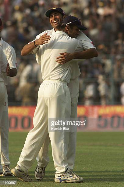 Laxman and Rahul Dravid of India, who shared a record partnership, celebrate the win, after day five of the 2nd Test between India and Australia...