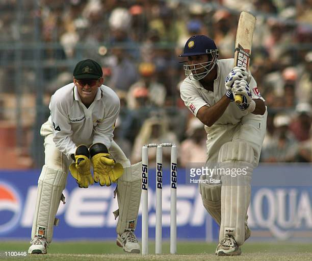 VVS Laxman of India hits out during day four of the 2nd Test between India and Australia played at Eden Gardens Calcutta India X DIGITAL IMAGE...