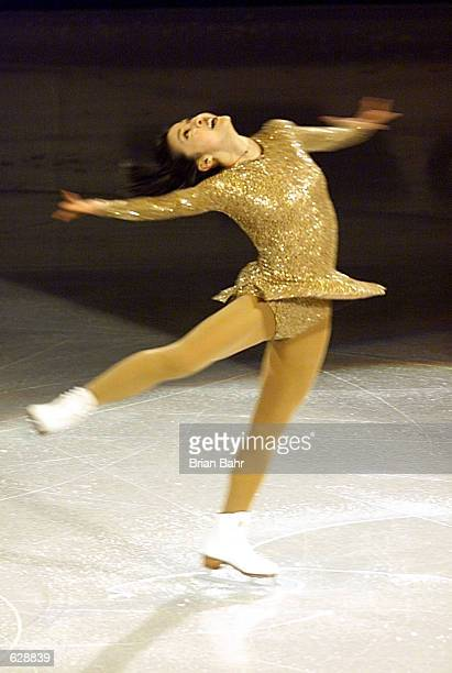 World Champion Michelle Kwan of the USA skates during the exhibition gala program at the 2001 World Figure Skating Championships at the GM Place in...
