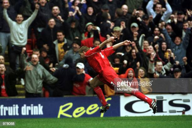Steven Gerrard of Liverpool celebrates after scoring the first goal during the Liverpool v Manchester United FA Carling Premiership match at Anfield...