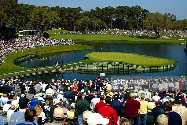 A general view of the 17th hole as Tiger Woods approaches the green during Friday's second round of the Players Championship at the TPC at Sawgrass...