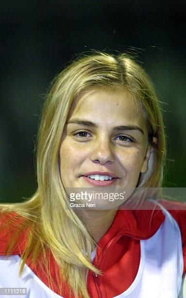Portrait of Milene Dominguez, wife of Ronaldo, before the friendly match between Monza and Region 4, a representative side from the West Coast of...