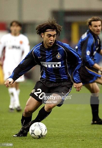 "Alvaro Recoba of Inter Milan in action during the Serie A match between Inter Milan and Roma, played at ""Giuseppe Meazza"" Stadium, San Siro, Milan...."