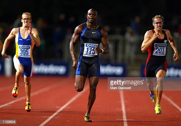 Alvin Harrison of the USA strides to the line to win the Mens 400m final during the Telstra ASeries IAAF Athletics Grand Prix meeting held at Olympic...