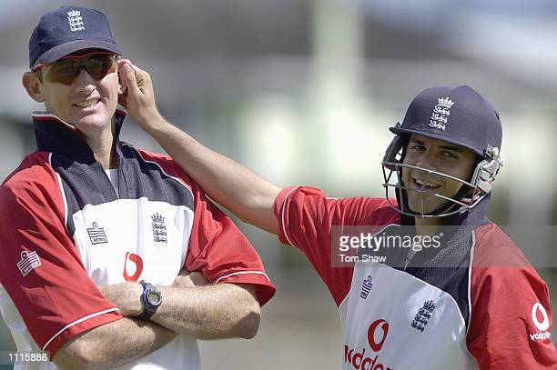 Andrew Caddick of England has his ear pulled by Usam Afzaal of England during the England nets session at Eden Park Auckland New Zealand DIGITAL...