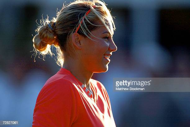 Anna Kournikova of Russia practices for her next match during the Nasdaq100 Open at The Tennis Center at Crandon Park in Miami Florida DIGITAL IMAGE...