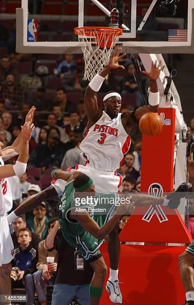 Ben Wallace of the Detroit Pistons blocks the path of Paul Pierce of the Boston Celtics at The Palace of Auburn Hills in Auburn Hills, Michigan....