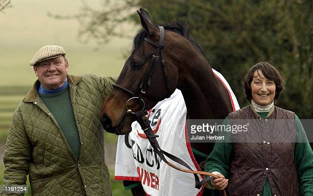 Best Mate winner of The Cheltenham Gold Cup with trainer Henrietta Knight and her husband Terry Biddlecombe at their stables the day after the horse...