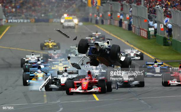 BMWWilliams driver Ralf Schumacher of Germany crashes during the Australian Formula One Grand Prix held at the Albert Park Circuit in Melbourne...