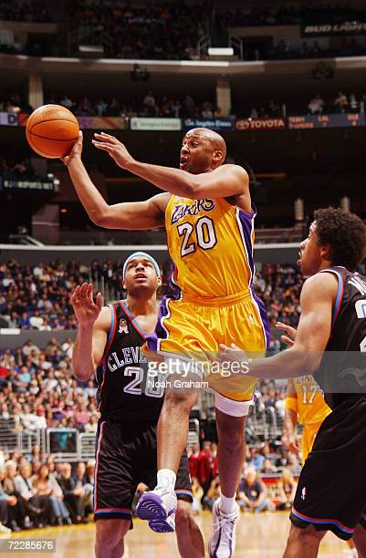 Brian Shaw of the Los Angeles Lakers passes the ball against the Cleveland Cavaliers during the first half of action at Staples Center in Los Angeles...