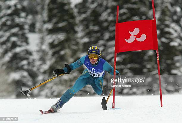 Cameron RahlesRahbula of Australia competes in the Men's Giant Slalom class LW2 during the Salt Lake City Winter Paralympic Games at the Snowbasin...