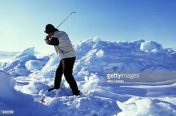 Chip Thompson of the USA in action during the Drambuie World Ice Golf Championship in Uummannaq, Greenland. \ Mandatory Credit: Alex Livesey/Getty...