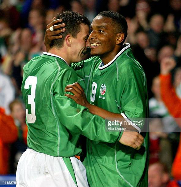 Clinton Morrison of Ireland celebrates his goal with Ian Harte against Denmark during the International Friendly match between Republic of Ireland...