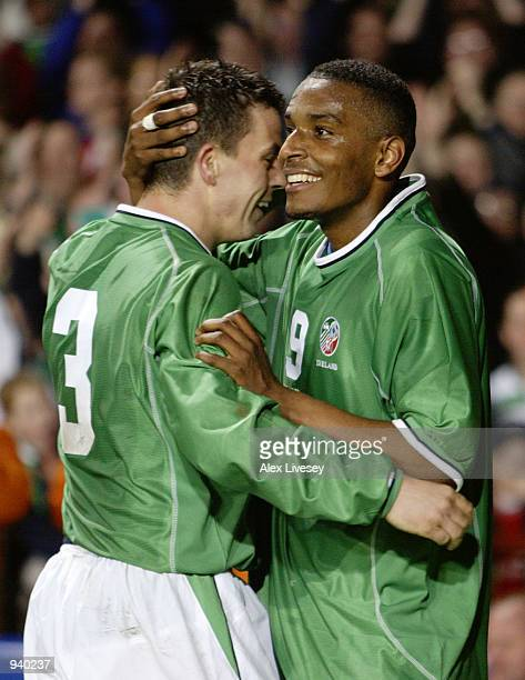 Clinton Morrison of Republic of Ireland celebrates his goal with teammate Ian Harte during the International Friendly match between Republic of...