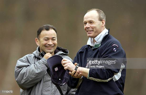 Clive Woodward the England coach pictured with Eddie Jones the Australian coach during England rugby union training at Pennyhill Park Hotel Bagshot...