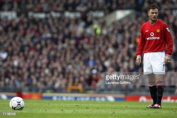 David Beckham Of Manchester United Prepares To Take A