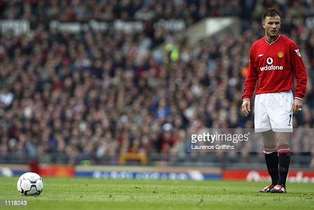 David Beckham of Manchester United prepares to take a trademark free-kick during the FA Barclaycard Premiership match between Manchester United and...