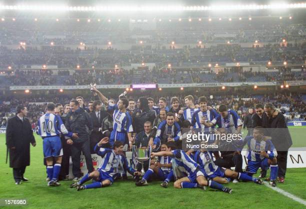 Deportivo La Coruna celebrate victory in the Spanish Copa del Rey Final between Real Madrid and Deportivo La Coruna at the Santiago Bernabeu Stadium...