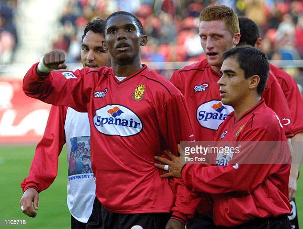 Etoo and fellow Mallorca players celebrate during the Spanish Primera Liga match played between Mallorca and Osasuna at the Son Moix Stadium in...