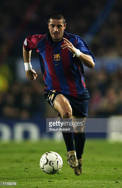 Francesco Coco of Barcelona runs with the ball during the UEFA Champions League Second Stage Group B match between Barcelona and Liverpool played at...