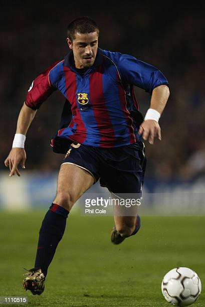 Francesco Coco of Barcelona runs with the ball during the UEFA Champions League Group B match between Barcelona and Liverpool played at the Nou Camp...