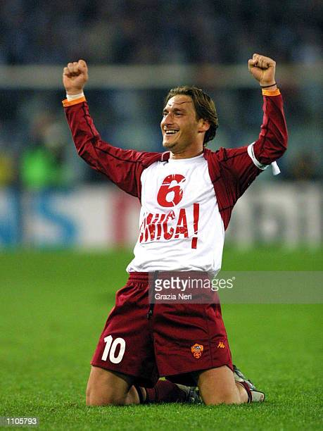 Francesco Totti of Roma celebrates his goal during the Serie A 26th Round League match played between Lazio and Roma at the Olympic Stadium in Rome....