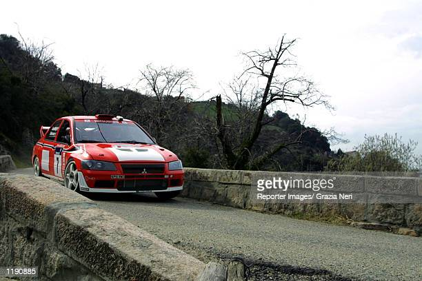 Francois Delecour drives his Mitsubishi Lancer Evolution during the first leg of the Corsica World Rally Championship Corsica DIGITAL IMAGE Mandatory...