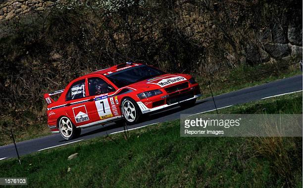Francois Delecour of France drives his Mitsubishi Lancer Evolution WRC during the second day of the Rally of Catalunya Spain DIGITAL IMAGE Mandatory...
