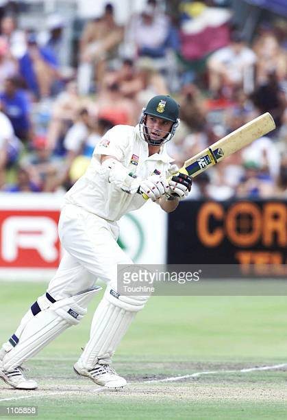 Graeme Smith plays a shot on his way to scoring 68 during the third day of the second test match between South Africa and Australia held at Newlands...