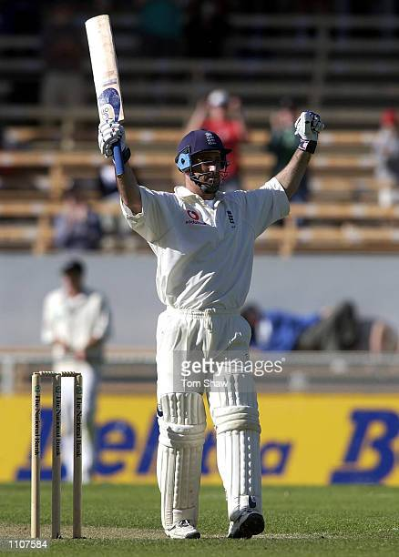 Graham Thorpe of England celebrates reaching his double century during the 3rd day of the New Zealand v England 1st Test at the Jade Stadium...