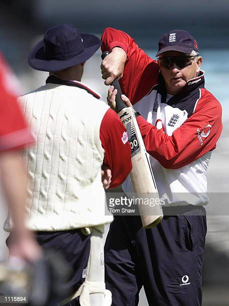 Graham Thorpe of England has a chat with coach Duncan Fletcher during the England nets session at Eden Park Auckland New Zealand DIGITAL IMAGE...