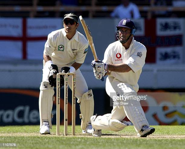Graham Thorpe of England hits a four on his way to a double century during the 3rd day of the New Zealand v England 1st Test at the Jade Stadium...