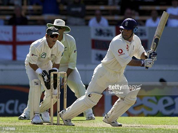 Graham Thorpe of England hits out on his way to a double century during the 3rd day of the New Zealand v England 1st Test at the Jade Stadium...