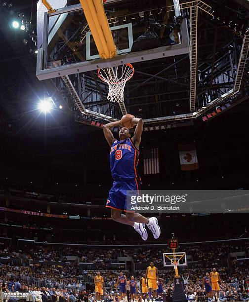 Guard Latrell Sprewell of the New York Knicks shoots the ball during the NBA game against the Los Angeles Lakers at the Staples Center in Los Angeles...